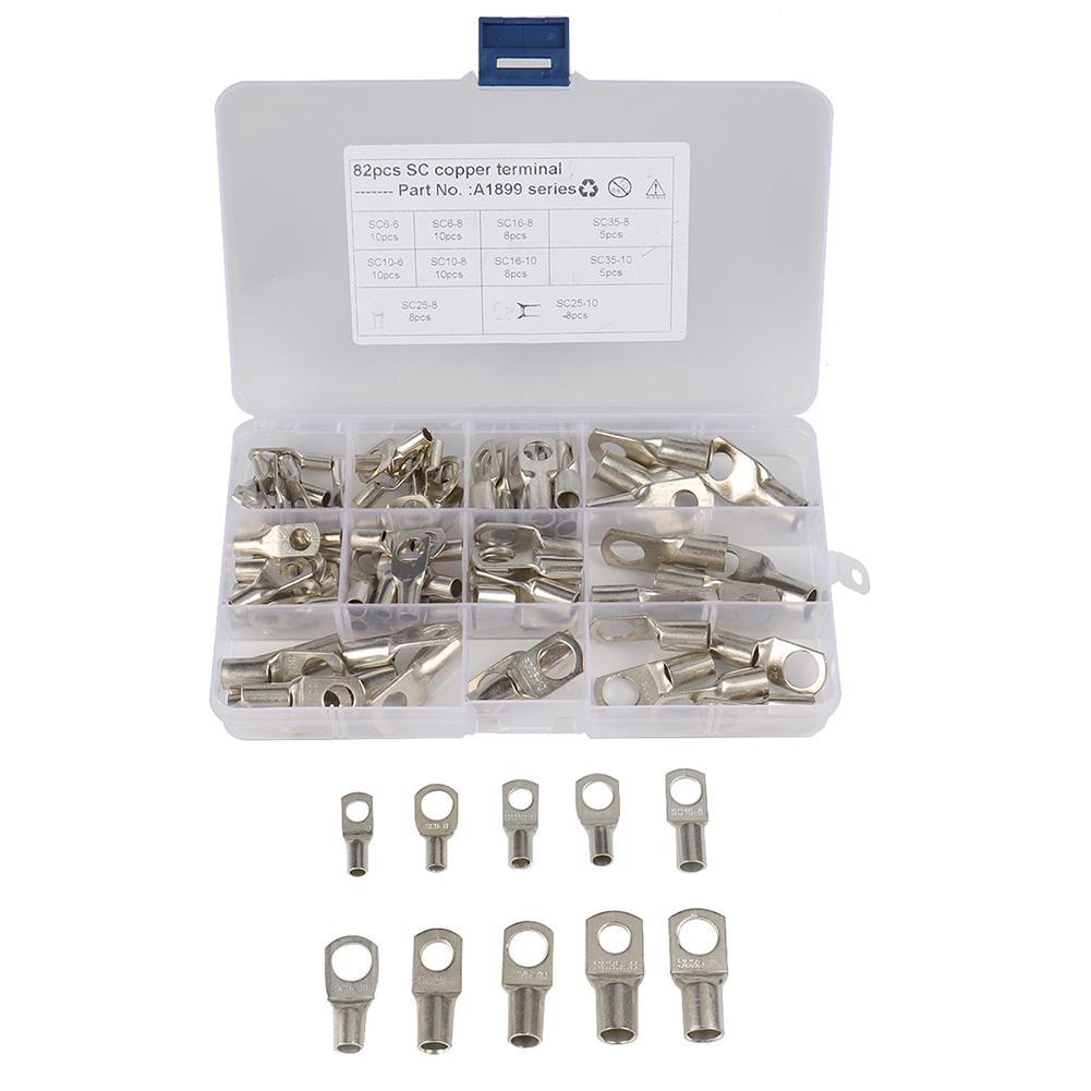 82Pcs/set Bolt Hole Copper Terminals Set Wire Connector Cable Lugs Low Voltage