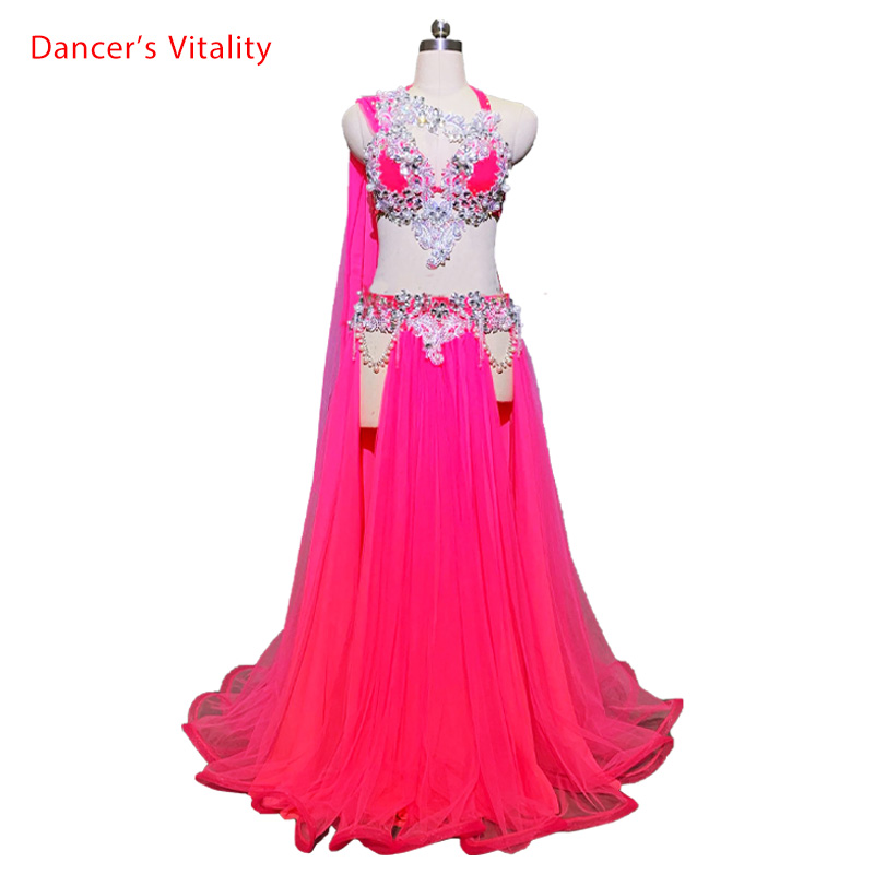 Customized Belly Dance Ribbon Bra Sexy Split Skirt Mesh Set Women Oriental Indian Drum Dance Group Competition Costume Stage Wea