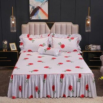 160X200cm Rose Garden Flowers Ruffles Bed Skirt set with Pillow shams 100%Cotton Girls Twin Queen King Bed sheet set Pillowcase