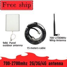 9dbi מחוץ פנל אנטנת מגבר אות CDMA UMTS GSM 700 ~ 2700 mhz רווח 9dbi עבור טלפון סלולרי בוסטרים משחזר 2G 3G 4G 5dbi Wh