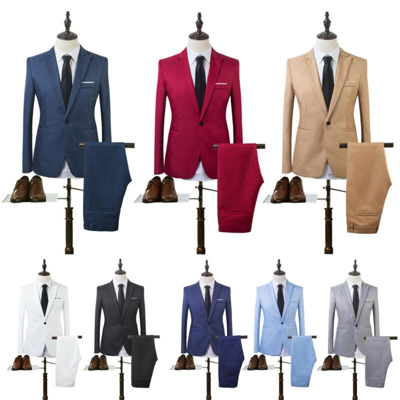 Costume Homme Mens Blazer Suit Ensembles Homme Slim Tuxedo Coat Pants Formal Evening Dinner Wedding Groom