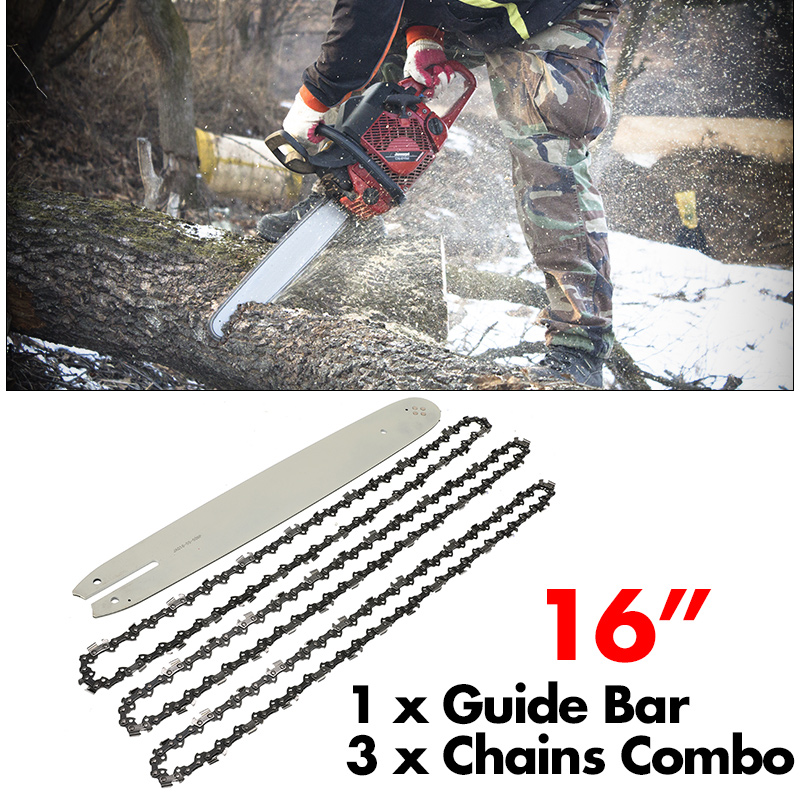 3pcs Chains 16 Inch Chain Saw Guide Bar For STIHL 009 012 021 E180 MS180 MS190  Electrical Tools Accessories