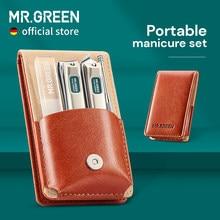 MR.GREEN przenośny zestaw do Manicure zestaw do Pedicure ze stalowymi ćwiekami Clippers narzędzie Travel Grooming Case pudełko nożyczki do paznokci zestaw