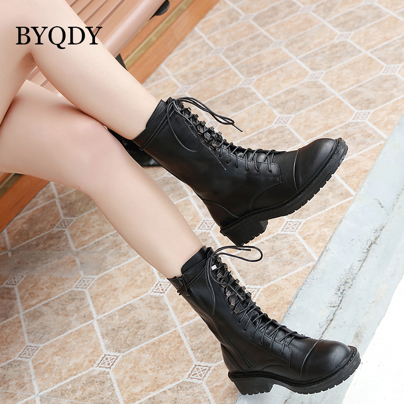 BYQDY Fashion Patent Leather Boots Women Square Heels Ladies Lace-up Ankle For Mother Winter Evening Dresses Shoes