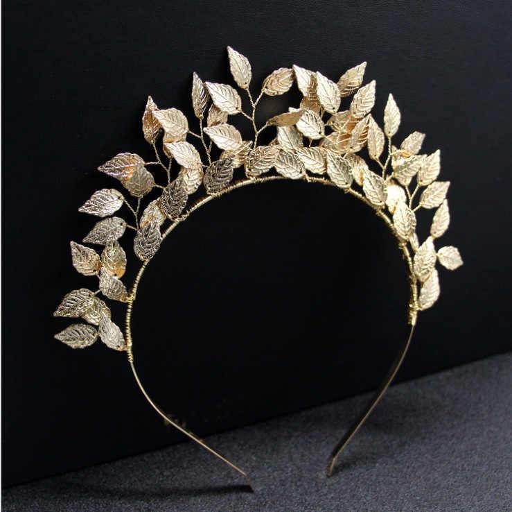 ยุโรปกรีกเทพธิดา Headband GOLD ใบสาขาวงผมมงกุฎแต่งงานเจ้าสาว Tiara อุปกรณ์เสริมสำหรับผมผู้หญิง