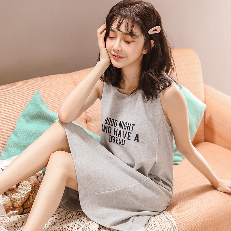By Fruit Pajamas Summer New Style With Chest Pad Korean-style Nightgown Pure Cotton Loose-Fit Comfortable Vest Skirt-Outer Wear