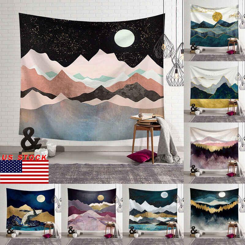 פסיכדלי ירח הרי קיר תליית חוף מגבת אמנות שטיח במעונות בית תפאורה 95cm x 72cm מלבן נוף הדפסה שטיח