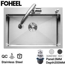 Sink-Basin Kitchen-Sink-Drain-Basket Rectangular Stainless-Steel FOHEEL And Pip Single