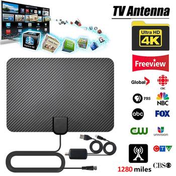 Antena cyfrowa 4K TV Antena telewizyjna HD z anteną wzmacniacz sygnału 1280mil Antena HDTV Antena telewizyjna tanie i dobre opinie Rondaful NONE CN (pochodzenie) Indoor 47-230MHz 470-862MHz antena tv 1280 Miles Range 4K Digital HDTV Aerial Indoor Amplified Antenna