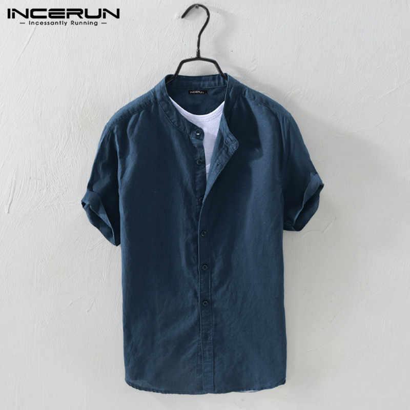 INCERUN Men Shirt Cotton Stand Collar Short Sleeve Solid Blouse Streetwear Casual Breathable Men Brand Shirts Camisa Harajuku