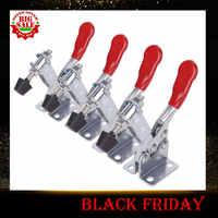 4Pcs 201B Anti-Slip U Shape Red Metal Horizontal Clamp 201-B Quick Release Tool Hand Tool Retracted clamp 198 lbs Toggle Clamp