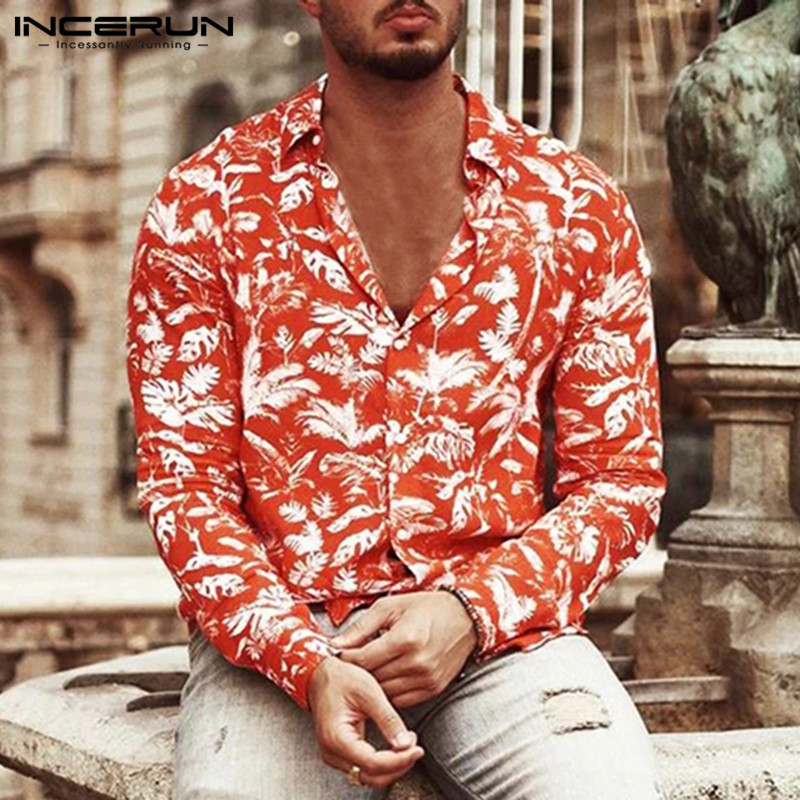 INCERUN Fashion Men Hawaiian Shirt Printed Vacation 2020 Streetwear Long Sleeve Turn-down Collar Camisa Men Casual Shirts S-3XL