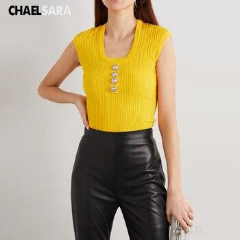2020 Sexy U Neck Knitted Tank Top Women Summer Casual Streetwear Knit Camis Vetement Femme