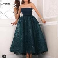 New Arrival Short evening dress 2020 Lace evening gowns Arabic Muslim evening dresses Plus size robe de soiree courte