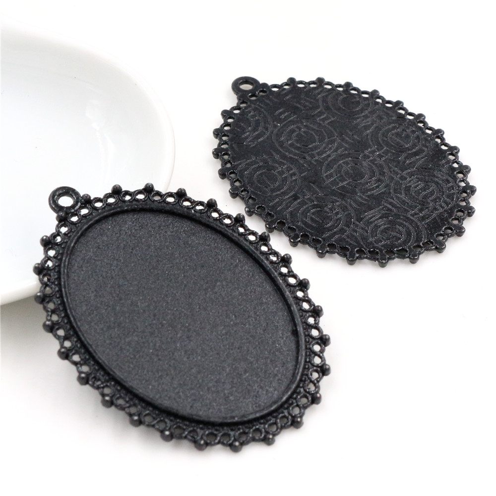 New Fashion 5pcs 30x40mm Inner Size Black Plated  Flowers Style Base Setting Pendant (B4-27)