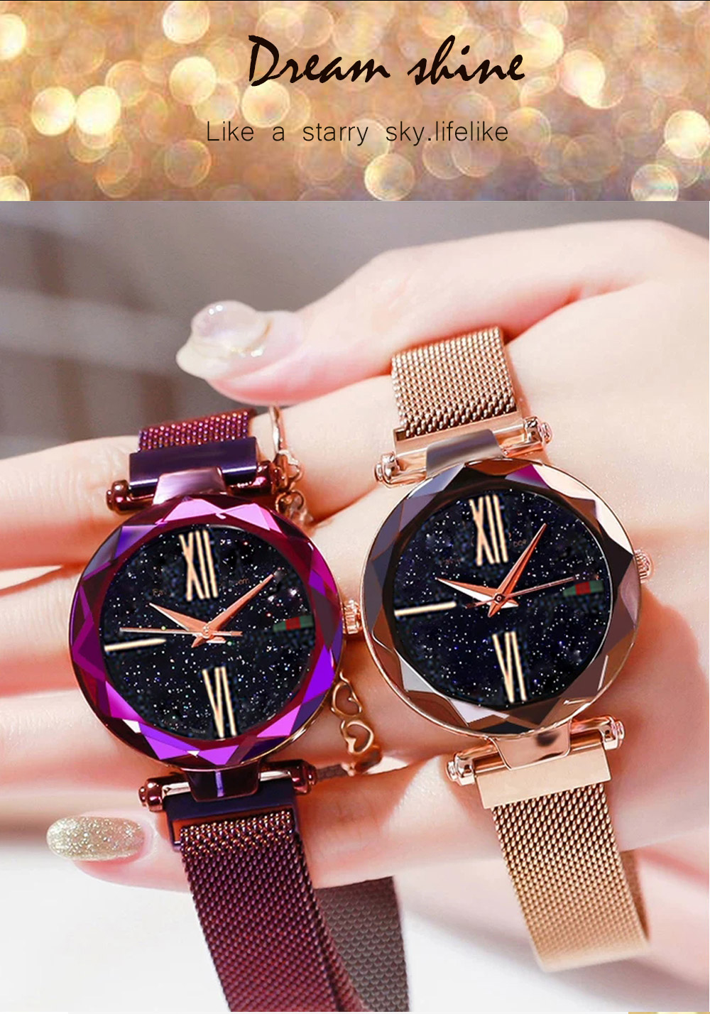 Luxury Minimalism Starry sky Magnet Rose Gold Women Watches 7