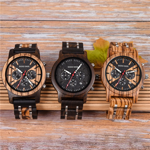 Image 2 - DODO DEER Stainless Steel Wood Watch Men Calendar Timepieces Chronograph Quartz Watches relogio masculino In Wooden Boxes OEM