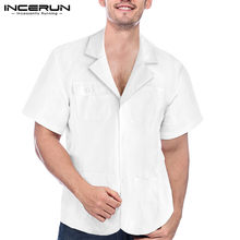 INCERUN S-5XL Men Short Sleeve Shirt Summer Loose Casual Turndown Collar Tops White Lapel Breathable Male Camisa Plus Size(China)
