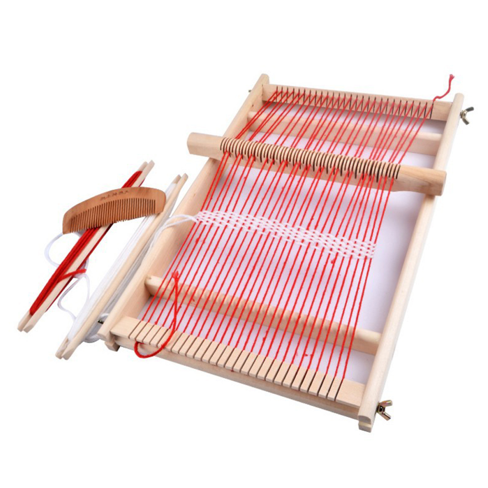 Easy Operate Weaving Loom Educational Wooden Frame Gift DIY Knitting Machine Handcraft Durable Toy Traditional Children Assemble