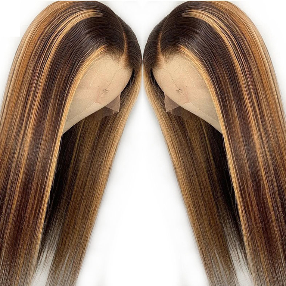 Transparent Lace Front  Wig Straight Highlight Honey Blonde Piano Color 13X6x1 Pre Plucked  Hair Wigs 150%Density 2