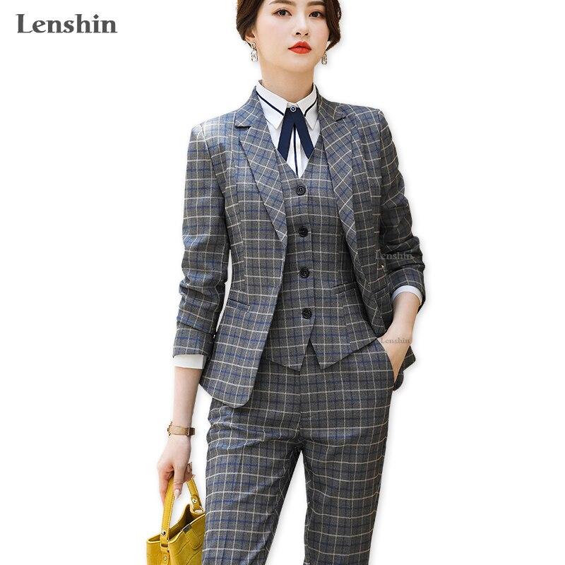 Lenshin High Quality 2 Piece Set Plaid Formal Pant Suit Blazer Office Lady Uniform Designs Women Keep Slim Jacket And Pant
