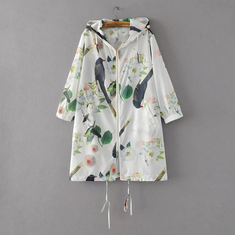 printed women   trench   coat 2019 autumn winter new zipper drawstring loose office lady hooded outwear coat tops