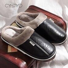 2019 Men Leather Slippers Winter Memory Foam size 40-49 Indoor Slipper Male Non-Slip short plush Warm House slippers for man