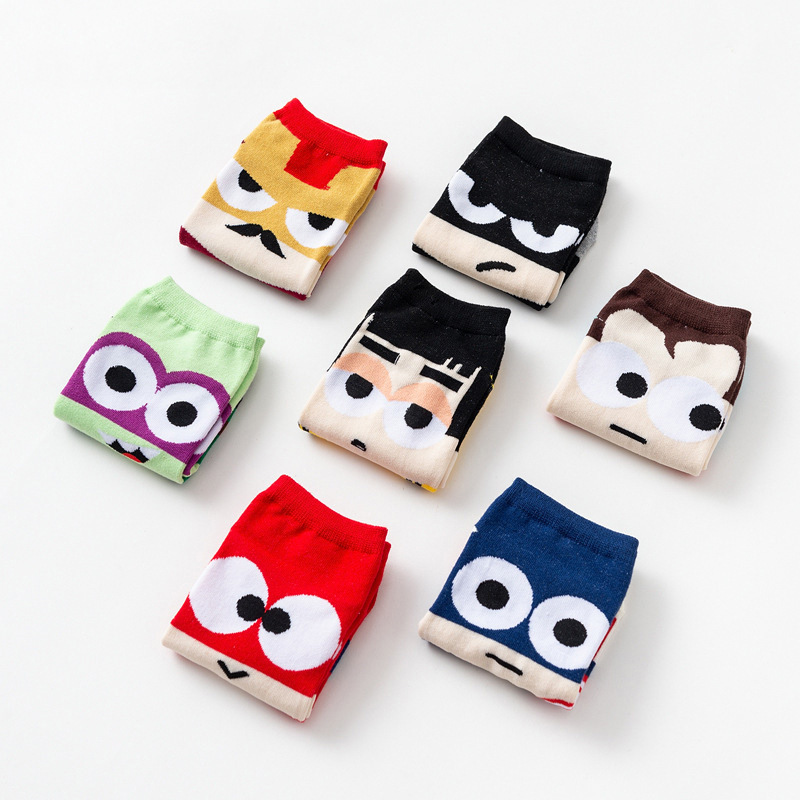 Cool Cartoon Men No Show Socks 7pairs Superheroes Superman Batman American Captain Cotton  Harajuku Novelty Short Sox Pack Gift