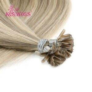 Image 5 - K.S peruk 16 0.8g/sn gerçek Remy tırnak U ucu saç uzatma ön gümrük Keratin kapsül çift çizilmiş düz füzyon saç