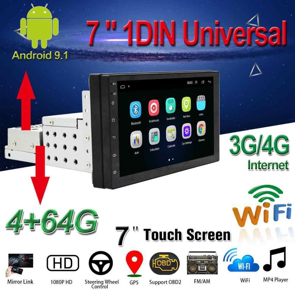 "1DIN/2DIN 車 DVD プレーヤー 7 ""アンドロイド 9.1 カーマルチメディアプレーヤーアップダウン調節可能なスクリーン Wifi/ 3 グラム/4 グラム BT GPS 車ラジオステレオ"