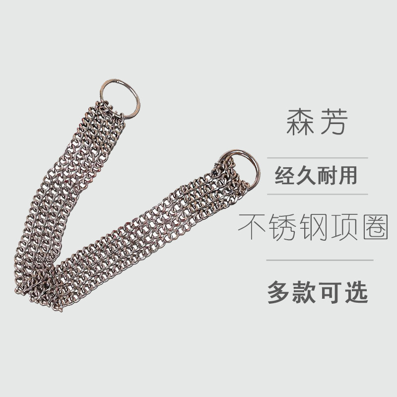 Double Row Stainless Steel Pet Collar Large Dog Golden Retriever Big Dog Traction Neck Ring Dog Iron Neck Ring