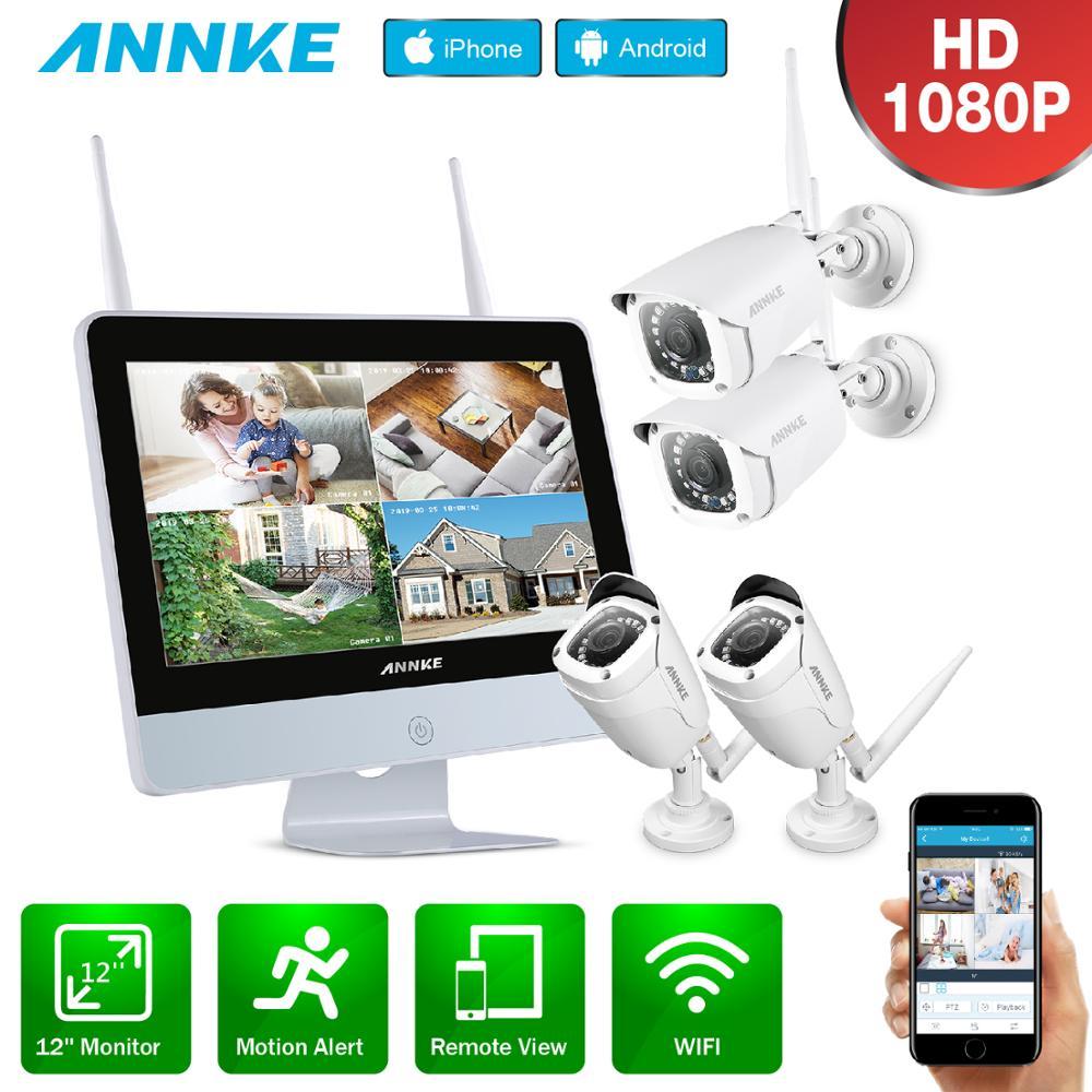 Annke 8ch fhd nvr sistema de cctv sem fio wi-fi 1080 p câmera ip wi fi ao ar livre à prova dwaterproof água cctv câmera segurança kit vigilância