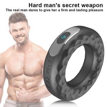New Delayed Ejaculation Penis Ring Vibrator Clitoral Stimulation Adult Sex Toy for Men
