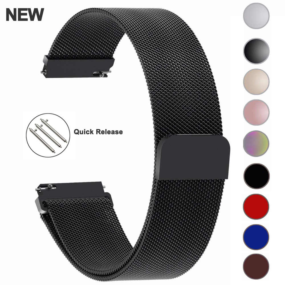 22mm 20mm Correa Milanese Loop para samsung galaxy gear s3 frontera banda galaxy 46mm activa de acero inoxidable 16 24mm, 18mm, mm banda