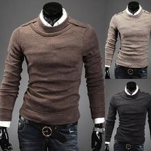 Мужчины Zogaa Осень Зима мужской свитер сплошной цвет o-образным вырезом мужской тонкий Fit базовый теплый пуловер трикотаж топы