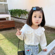 Size 80-150 Knitted Turn-down Collar Spring Korean Cute Long Sleeve Lace Girls Blouse Kids Blusas Girls Clothes Kids T Shirts long sleeve girl chiffon blouse spring autumn kids peter pan collar back to school blouse and shirts for teeange girls 12 years