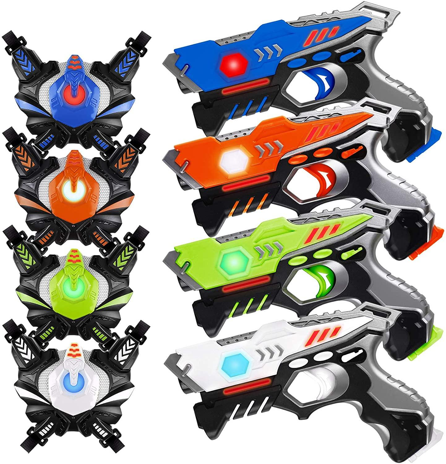 HISTOYE Infrared Laser Tag Guns Sets of 4 Players Game Laser Tag Sets with Gun Indoor Outdoor Toy Gun