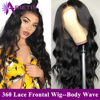 360 Lace Front Wig Arietis Hair Glueless Brazilian Body Wave Pre-Plucked With Baby Hair 150% Density Remy Hair Lace Front Wig