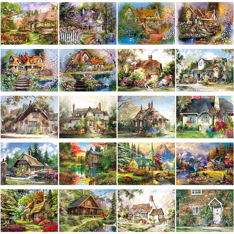 Алмазная 5D картина «сделай сам», вышивка крестиком, полная круглая искусственная мозаика, стразы, ландшафт, деревня, вилла, домашний декор