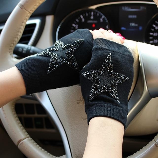 Winter Gloves Women Rhinestone Skull A+ Diamond Crown Half Finger Warm Knitted Black Mittens students Gants Femme 3
