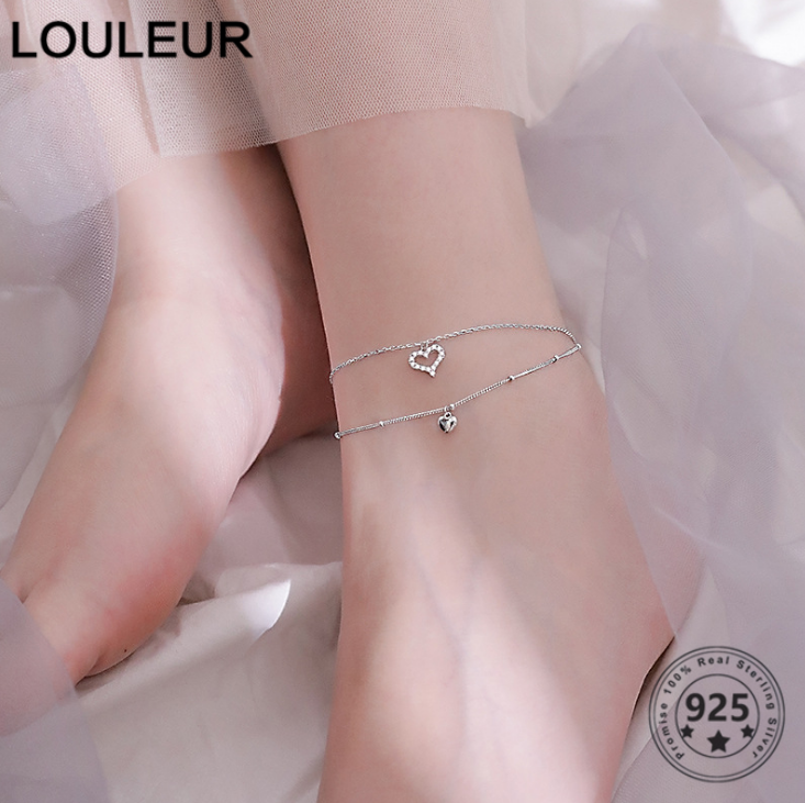 Louleur Korean 925 Sterling Silver Anklets Individuality Double Zircon Love Pendant Anklets Simple For Woman Daily Fine Jewelry
