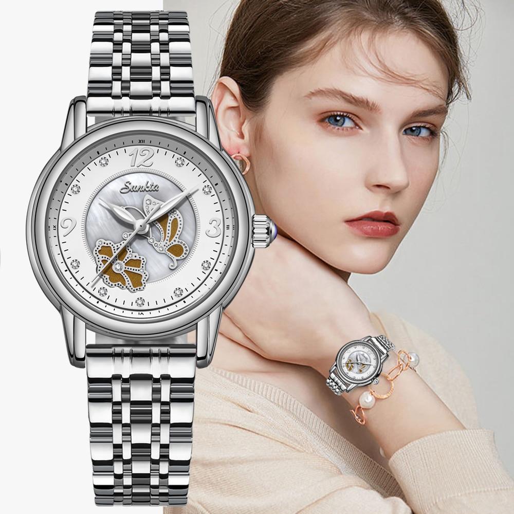 SUNKTA Women Watches Women Luxury Brand Bracelet Dress Watch Sport Femme Gifts Diamond Watches For Women Clocks Relogio Feminino