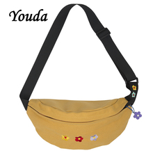 Youda Original Embroidery Flower Chest Bags Casual Outdoor Canvas Bag Fashion Student Sports Pockets Large Capacity Waist Pack