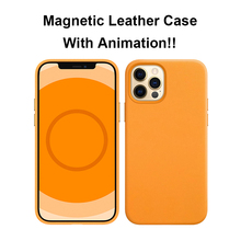 Magnetic Genuine Leather Case For iPhone 12 Pro Max 12 Mini With Ainamation Window Pop-up Mag Magnet Safe Animated Case Cover