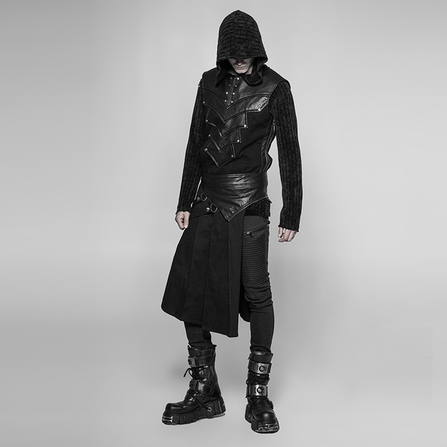PUNK RAVE Gothic Steampunk Men Skirt Vintage Japanese Removable Cosplay Men's Half Skirt Pants 4