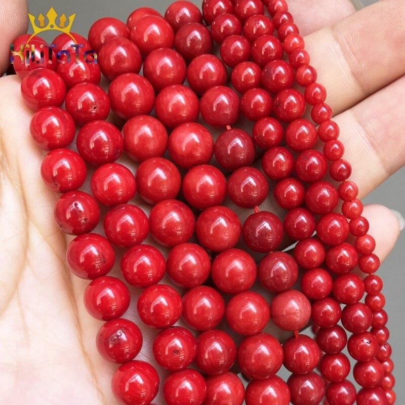 Perles rondes en corail rouge, grosses pierres naturelles, pour la fabrication de bijoux, bricolage, de bracelets, goujons doreille, accessoires 15