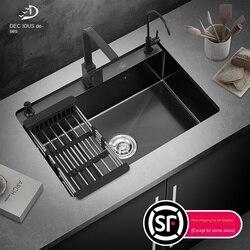 Очень большая черная Nano раковина с одной раковиной, кухонная раковина из нержавеющей стали 304, большая раковина