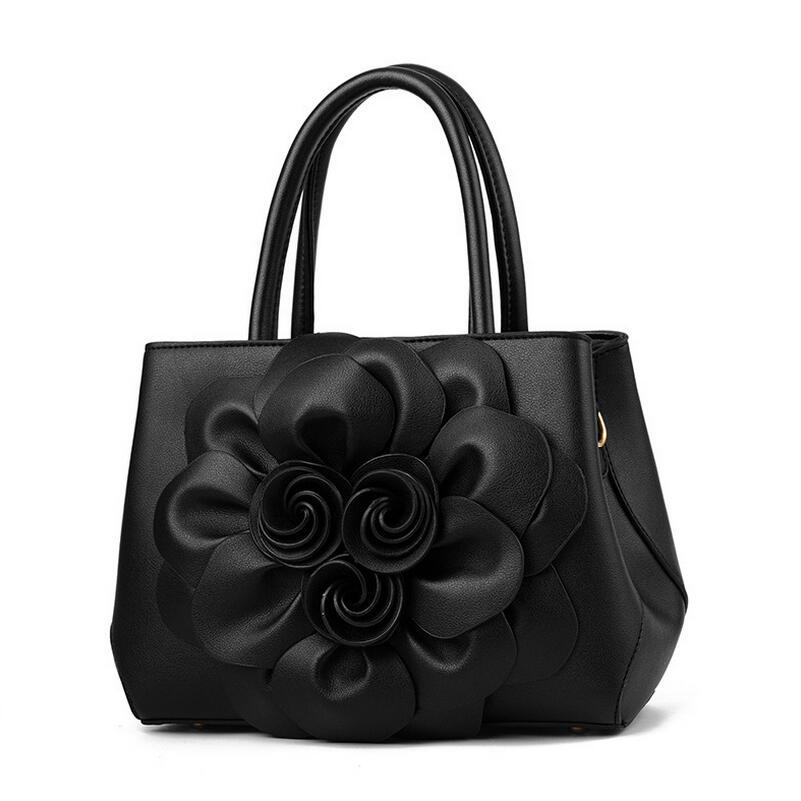 Luxury Flower Shape Middle Aged Women's Classic Zipper Handbag Fashion Designer Shoulder Bag Ladies Pu Leather Messenger Bag