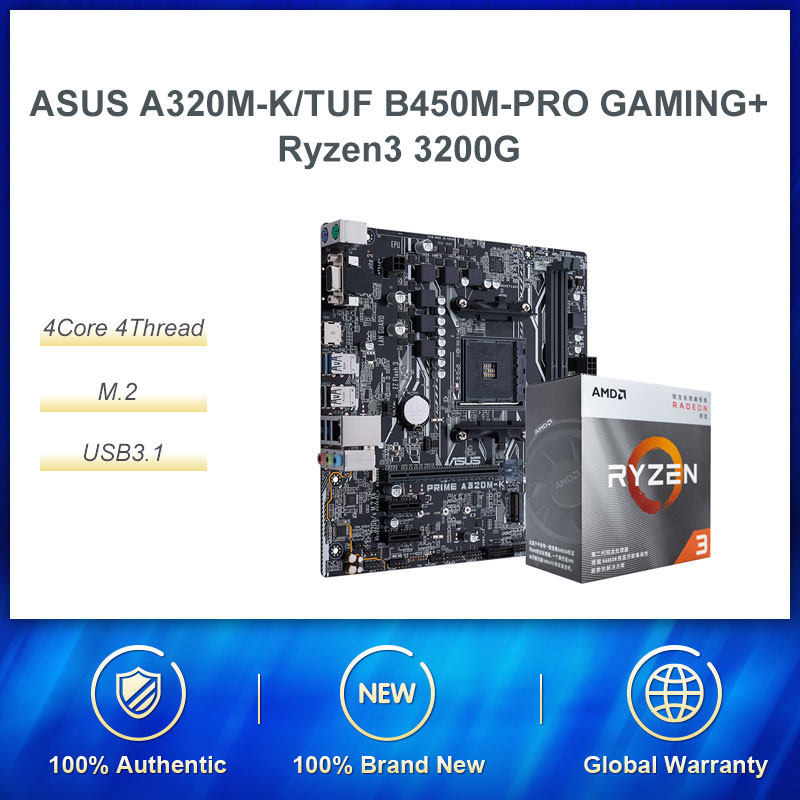 ASUS PRIME A320M-K Motherboard AMD <font><b>Ryzen</b></font> 3 r3 <font><b>3200G</b></font> CPU Quad Core Processor Board Set CPU Motherboard For Cheap Gaming PC image
