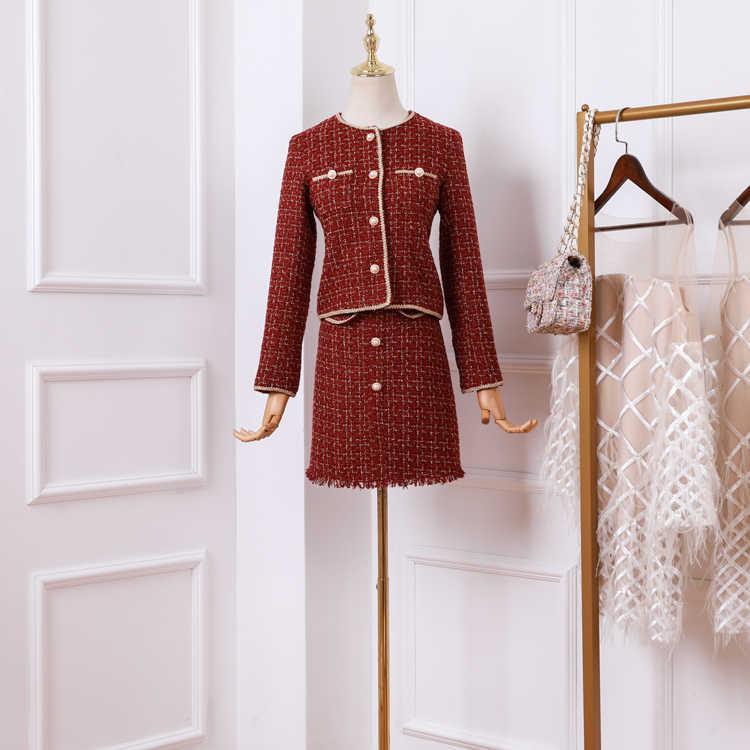 2019 新 Ol レトロツイードジャケット A ラインスカートツーピースセット女性滑走路にスプライスチェック柄のゴールドトリムショートコートスカート衣装スーツ
